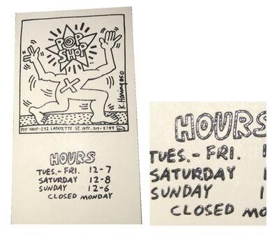 Keith Haring, 'POP SHOP NYC, 1985, Original Business Card, Thermograph Print, RARE', 1985