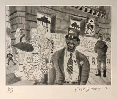 Red Grooms, 'Red Grooms Grand Central Train Subway Manhattan NYC Cartoon Aquatint Etching', 1990-1999
