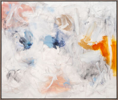 Scott Pattinson, 'Pause Hesitation - Large gold, blue, white and pink abstract oil painting', 2020