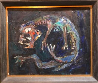 Bezalel Schatz, 'Modernist Creature Figure Bezael Schatz Israeli Painting', 1940-1949
