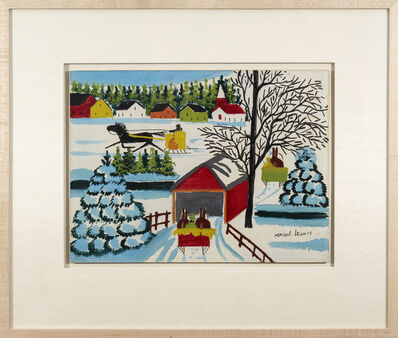 Maud Lewis, 'Covered Bridge with Three Sleighs'