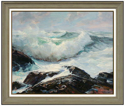 Emile Albert Gruppe, 'EMILE A. GRUPPE Large Gloucester Bass Rocks Oil Painting On Canvas Signed Art', 20th Century