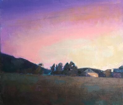 """Larry Horowitz, '""""Magenta Sky"""" oil painting of purple sunset over a field', 2020"""