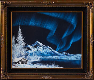 Bob Ross, 'Bob Ross Signed Original Blue Alaskan Mountain Scene with Cabin and Northern Lights Contemporary Art', 1981