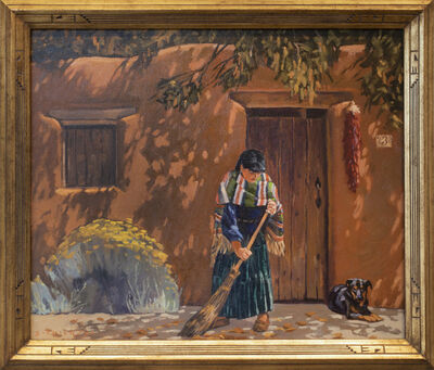"Dennis Ziemienski, 'Dappled Autumn Light (after Joseph Henry Sharp painting titled ""Untitled"" New Mexico Portrait)', 2021"