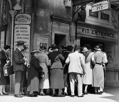 Wolfgang Suschitzky, 'Matineé queue at Wyndham's Theatre, Charing Cross Road ', 1936