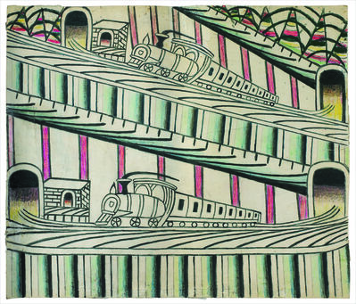Martín Ramírez, 'Untitled (Trains on Inclined Tracks)', ca. 1960