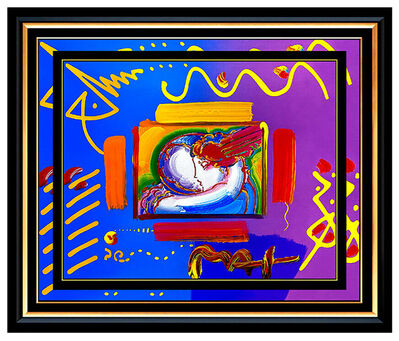 Peter Max, 'PETER MAX Acrylic PAINTING Original I LOVE THE Better WORLD Signed POP ART oil', 21st Century