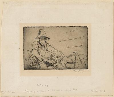 Augustus Edwin John, 'A Man Seated by a Camp Fire', 1910