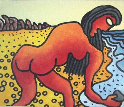 Prokash Karmakar, 'Long hair, nude women collecting pebbles, Mixed Media in blue, red & yellow by Modern Artist Prakash Karmakar', 2004