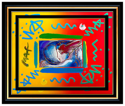 Peter Max, 'PETER MAX Acrylic PAINTING Original I LOVE THE WORLD Signed POP ART oil ICONIC', 1990-1999