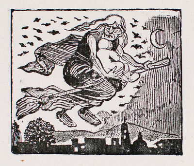 José Guadalupe Posada, 'A witch carrying a child on her broom', 1880-1910
