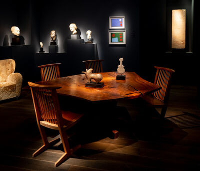 "George Nakashima, 'The Frosh Family Sanso ""Reception House"" Table and Set of Six Conoid Chairs', 1981"