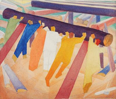 Alexander Bogomazov, 'Rolling the Logs', 1928-1929