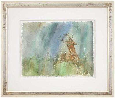 Leonard Baskin, 'Rare Leonard Baskin Watercolor Seasons Song: Deer Illus. Ted Hughes Poem', 20th Century