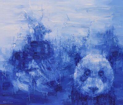 Adam Chang, 'Shan Shui with Panda, blue', 2017