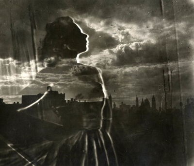 Val Telberg, 'Untitled (woman and cityscape)'