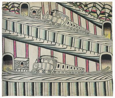 Martín Ramírez, 'untitled (trains on inclined tracks)'