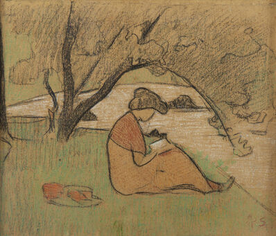 Paul Sérusier, 'Marguerite Sérusier lisant près de la rivière', 1912
