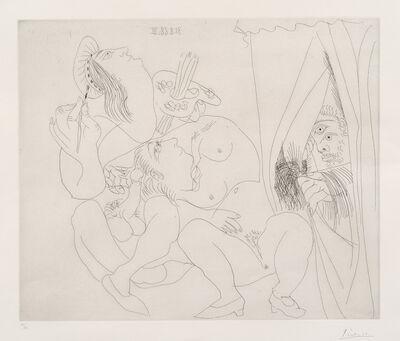 Pablo Picasso, 'Raphaël et la Fornarina V: avec voyeur écartant le rideau (Raphael and Fornarina, With Voyeur Pulling Back the Curtain), pl. 300, from 347 Series (Bl. 1780, Ba. 1797)', 1968