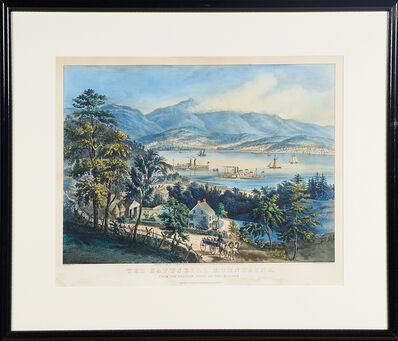 """Currier & Ives, '""""The Catskill Mountains From The Eastern Shore Of The Hudson""""', 1860"""