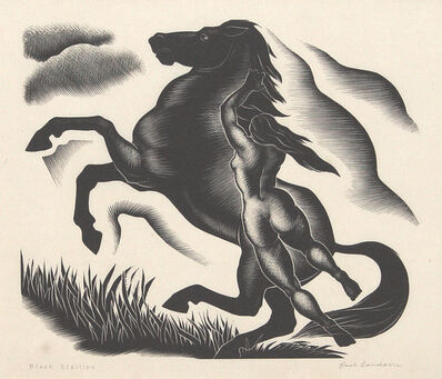 Paul Landacre, 'Black Stallion', 1940