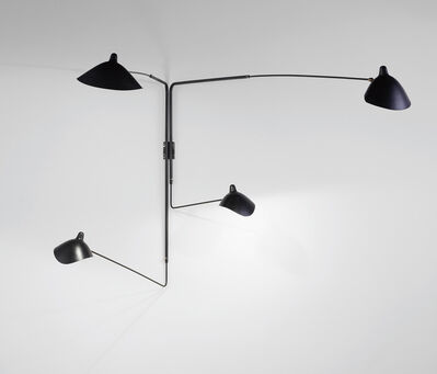 Serge Mouille, 'Pivoting four-armed wall light with 'Lampadaire' and 'Casquette' shades', designed 1954-executed circa 1970