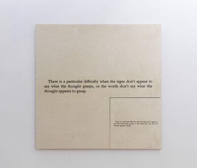 Joseph Kosuth, 'No Number (E)(+216 Augustine's Confessions)', 1989