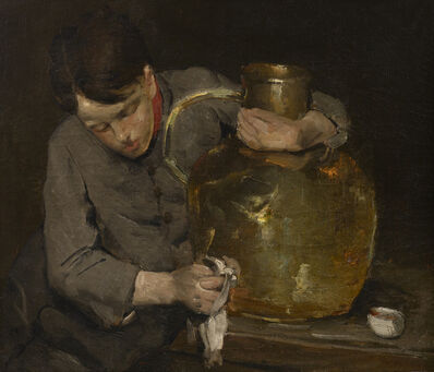 Julian Alden Weir, 'Boy Polishing a Brass Jug', 1870s-1880s