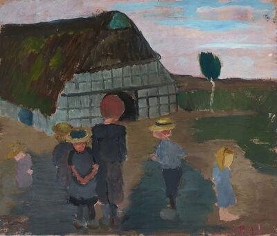 Paula Modersohn-Becker, 'Kinder vor Bauernhaus / Verso: Birkenstämme und Haus', 1901