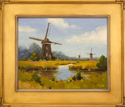 Alyona Dixon, ''A Day in the Country' Realistic Dutch Scene, Oil on Linen Framed Painting by Alyona Kostina Dixon', 2019