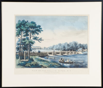"""Currier & Ives, '""""View On The Harlem River, Ny, The Highbridge In The Distance""""', 1852"""