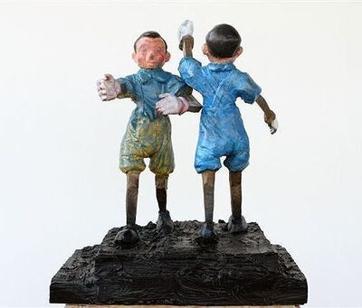 Jim Dine, 'Two Pinocchios in Blue', 2010
