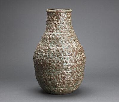 Makoto Yabe, 'Large vase with mishima pattern, green wood ash glaze and copper'