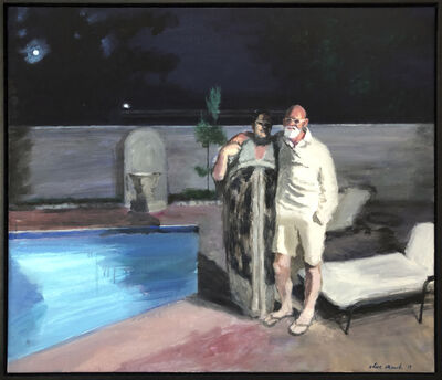 Clare Menck, 'Moonstruck eternal lovers by pool', 2019