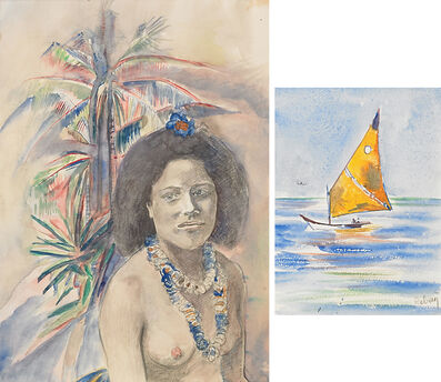 HILLA REBAY, 'Two Works of Art: Untitled (Woman with Palm Tree), Travel Viareggio'
