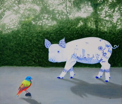 Woo-lim Lee, 'A pig in blue and white glaze', 2020