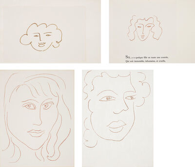 Henri Matisse, 'Florilège des amours de Ronsard (Anthology of Ronsard's Lovers): two plates; Visages (Faces): one plate; and Poésies antillaises (Caribbean poems): one plate', 1946; 1948; and 1972