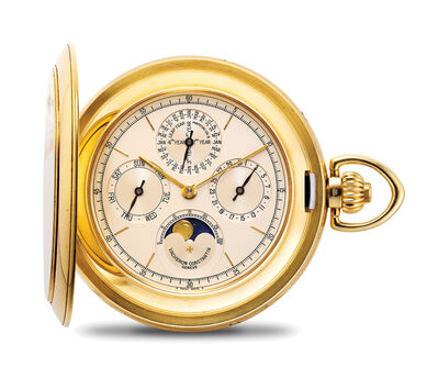 Vacheron & Constantin, 'A very fine and heavy yellow gold perpetual calendar hunter case pocket watch with moon phases, with international warranty and setting pin', 1998