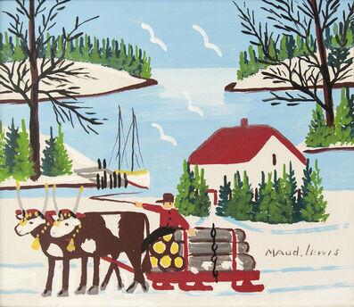 Maud Lewis, 'Oxen Hauling Logs'