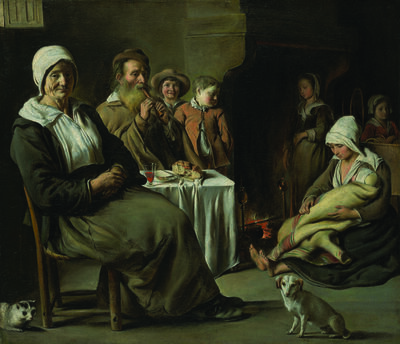 Louis Le Nain, 'Peasant Interior with Old Flute Player', ca. 1642