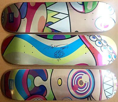 Takashi Murakami, 'Original hand signed (Unique) Flower Drawing on skateboard,  Set of three (3) skate decks', 2017