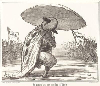 Honoré Daumier, 'Un Parasol dans une position difficile', 1859