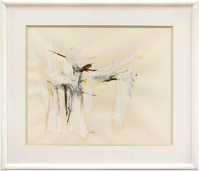 Motke Blum, 'Israeli Modernist Abstract Expressionist Mixed Media Painting White on White', Mid-20th Century