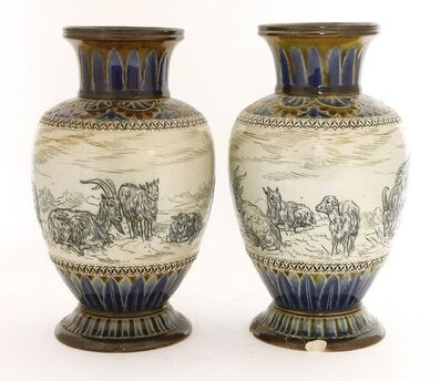 Hannah Barlow, 'A pair of Doulton Lambeth vases', 1885