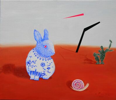 Woo-lim Lee, 'A rabbit in blue and white glaze', 2020