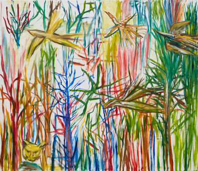 Ken Whisson, 'Trees, Birds, Cat and Flying Stick Spider', 20/1/19 to 14/4/19