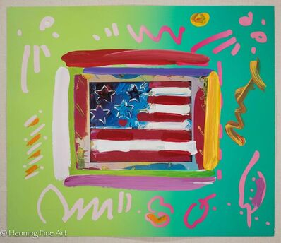 Peter Max, 'Flag with Heart', ca. 2000