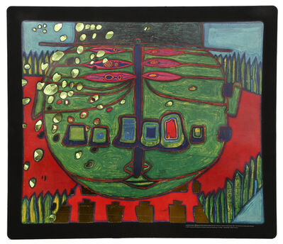 Friedensreich Hundertwasser, 'Three-Eyed Green Buddha with Hat', 1974