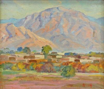 hella shattuck, 'Sunset on the Manzano Mountains, Isleta Indian Village, NM', Unknown